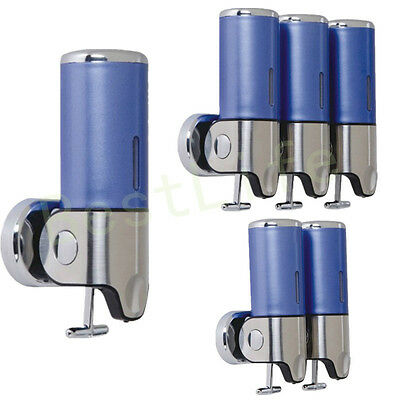BLUE Wall Mounted Shower Soap Dispenser Shampoo Gel Liquid Soaps Conditioner