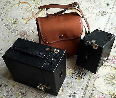"Two Antique Edwardian ""Kodak 0"" & ""Kodak 120"" Box Cameras In Lovely Condition"