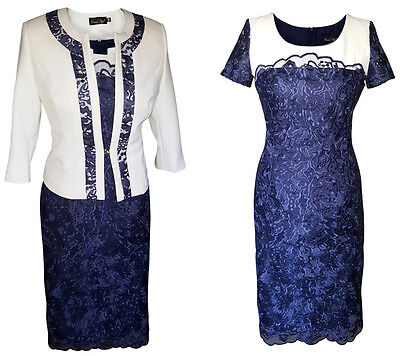 Navy Ivory Lace Mother Of The Bride Groom Outfit 2 Piece Jacket Dress Size 16