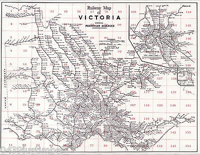 Victorian Railways Map Showing the Lines in Use in the Late 1940's a pocket copy