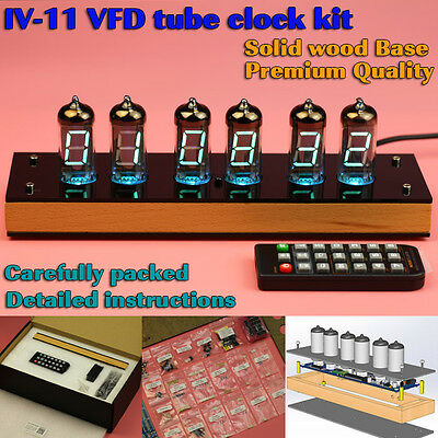 New Version IV-11 VFD Nixie Tube Clock Kit with Nice Wooden Housing. IR remote