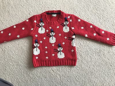 Girls Christmas Snowman Christmas Jumper By NEXT Age 5-6 Years
