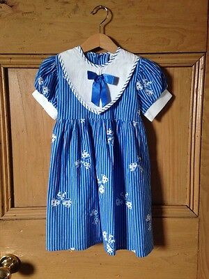 Beautiful Ladybird Nautical Blue Stripe Sailor Dress With Collar And Bow Age 3-4