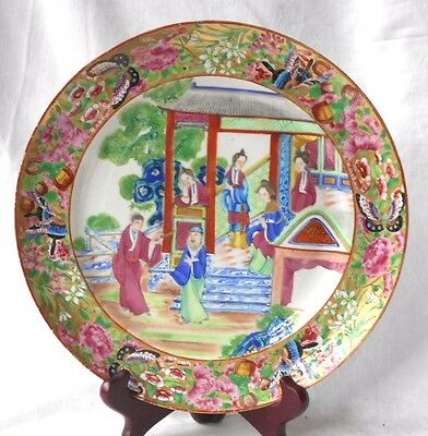 C19Th Chinese Canton Plate Decorated With People In A Garden Within A Border A/f