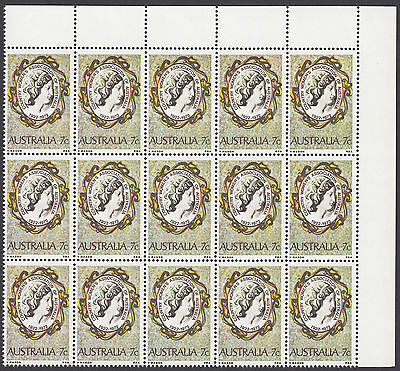 1973 AUSTRALIA  CWA, TOP RIGHT CORNER BLOCK OF 15 x 7c STAMPS  MNH