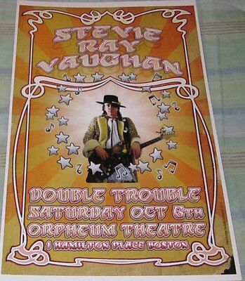 Stevie Ray Vaughan/double Trouble 1984 Replica Concert Poster W/top Loader