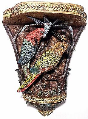 """11.5"""" Wall Sconce Shelf Sculpted PARROT Birds Figure Painted Resin Metal Leaf"""
