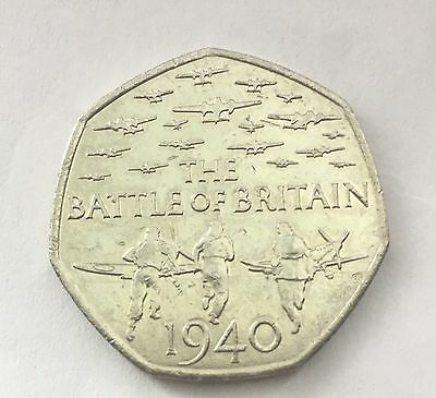 Very Rare The Battle of Britain 1940 50p Pence 2015 coin