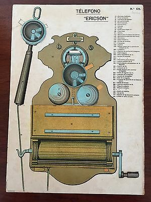 ERICSSON WALL PHONE Fiddleback.Original Old TOY cardboard collage 4 levels 1900s