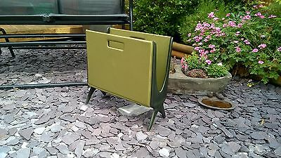 Stylish Vintage Retro Green Vinyl Magazine Rack  - Fabulous!