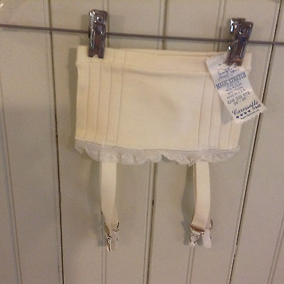 NWT Vintage Caressable Bra garter belt open bottom girdle w garters   24-30""