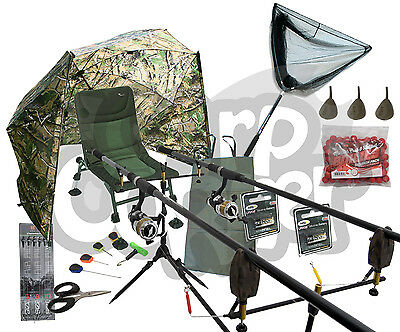 Carp fishing Set Rods Reels Alarms Net Mat Brolly Shelter Padded Chair & Tackle
