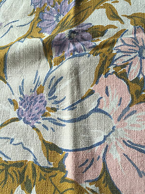 """Vintage Tablecloth Retro SIMTEX Lavender Pink Gray and Brown Floral  50"""" Square"""