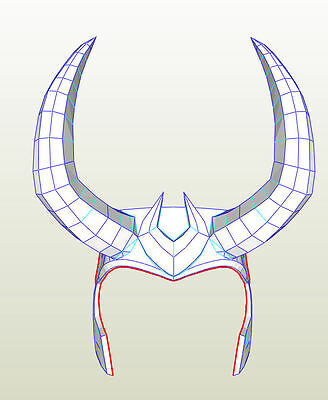 Agents of Shield Loki style helmet. PRE CUTOUT. Pepakura card. cosplay item