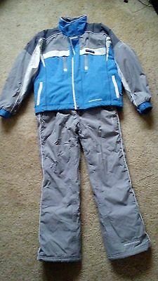 Childs Ski Suit Age 11-12, Trespass Jacket and Salopettes, Grey/Blue
