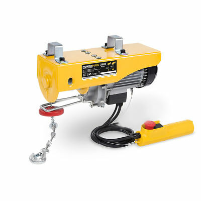 Powerplus 400/800Kg 1300w Hoist Electric Winch Steel Wire Load Pulley Hook
