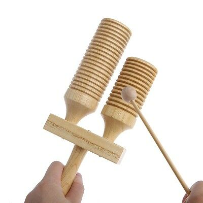 Wooden Percussion Double Agogo Bell with Tapered Beater Handle Musical Kid Toy