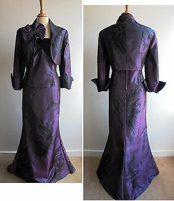 FRANK USHER Purple Mother of the Bride Suit Outfit UK16 Skirt Jacket Top Wedding