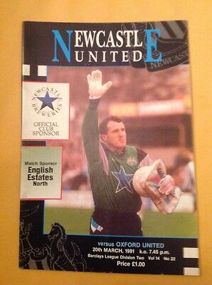 Newcastle v Oxford football programme, 20 March 1981
