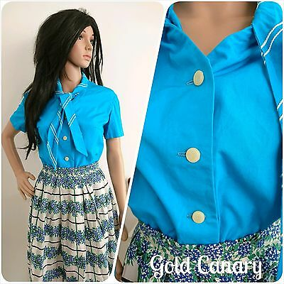 Vintage 1940s 50s Turquoise Tie Collar Cotton Button Blouse Top 12 14 40