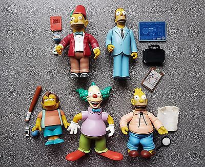 The Simpsons Figures - Grandpa, Uncle Herb, Nelson, Krusty Clown Playmates Toys