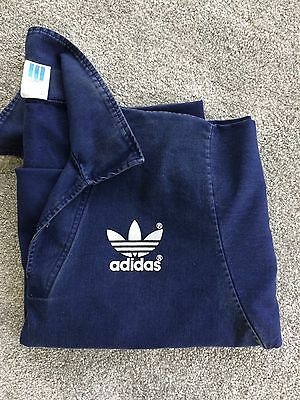"""80s Vintage Mens Oversized Navy Adidas Sweater Popover Size 44"""""""