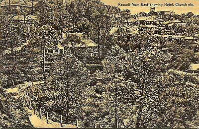 1910s postcard Kassauli from East showing Hotel, Church etc India