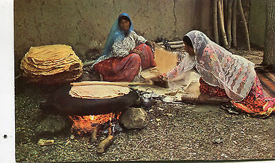 1960s postcard Baking of Bread by Ghashghay Women India
