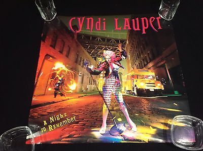 "VINTAGE 1989 A Night To Remember CYNDI LAUPER 23 X 23"" Promotional Poster"