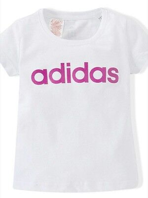 Girls 7-8yrs Adidas white and pink sparkly glitter t-shirt BNWT