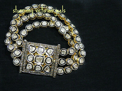 Estate VictorIAN 6.50ct Rose/ Uncut Diamond Silver Bracelet,FREE SHIPPING