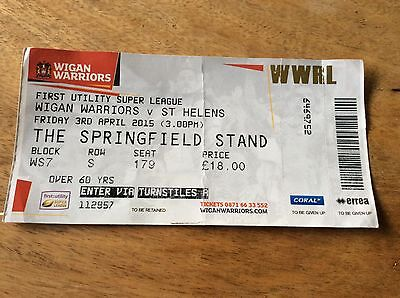 Wigan V St. Helens Ticket Stub from Easter 2015
