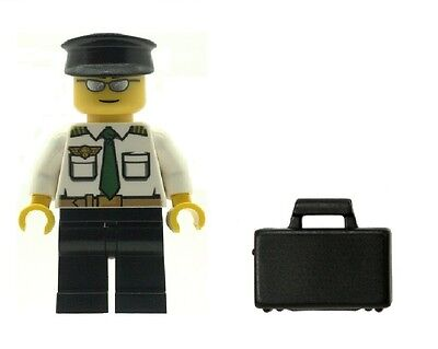 LEGO Airline Pilot Minifig with Briefcase NEW Town City