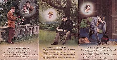 """WWI-  """"When I lost you""""  Set of three Bamforth postcards."""