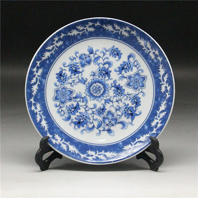 "6""Chinese Blue and white Porcelain painted Flower Plate w Qianlong Mark"