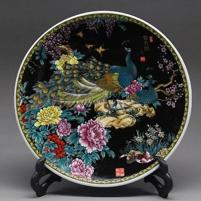 6 Inch Chinese Rose Porcelain painted Peacock Plate w Qianlong Mark