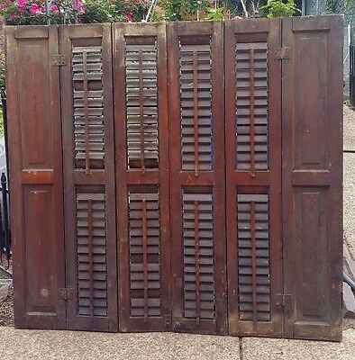 Pair Antique Window Shutters Architectural Salvage 1800s /Hardware 37-1/2'' tall