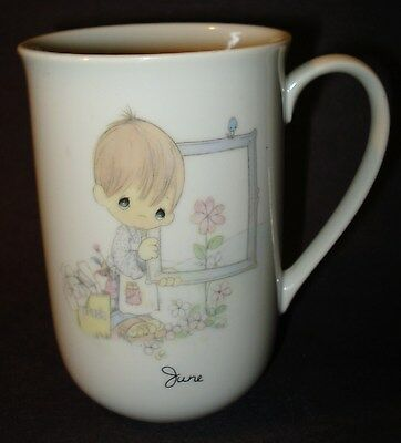 Precious Moments JUNE BOY of the Month COFFEE MUG TEA CUP Ceramic Vintage 1984