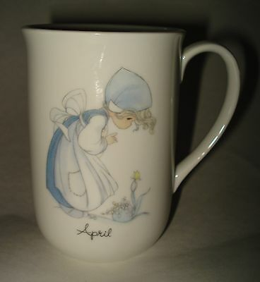 Precious Moments APRIL MONTH Birthday Girl COFFEE MUG TEA CUP Ceramic Easter VTG