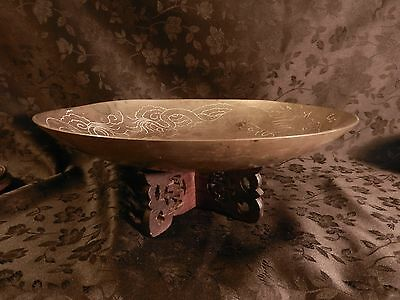 REDUCED Antique Chinese brass/bronze dragon bowl with 2p carved wooden stand