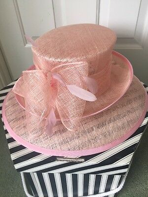 Stunning Pink Ascot Wedding Hat Sinamay Feather Mother Of The Bride