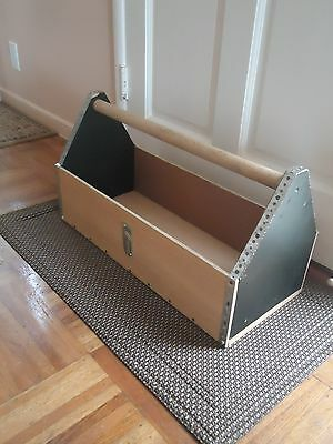 """Solid Wood Metal Handmade 24"""" Carpenter's Tool Tray Box Carry On Tote"""