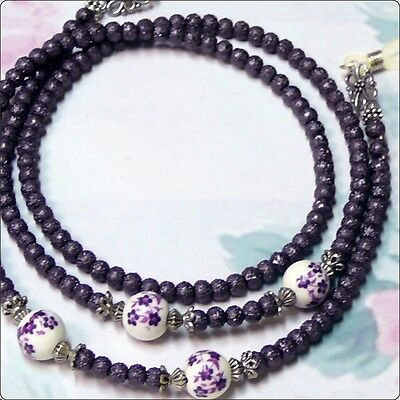 Reading Eye glasses lanyard chain Dark purple pearl and porcelain