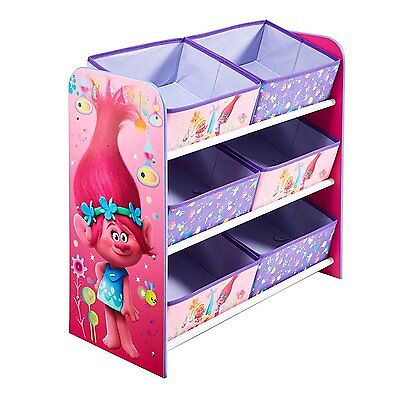 Dreamworks Trolls Childrens Kids Toddler Bedroom 3 Tier Storage Unit & 6 Baskets