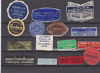 RHODESIA'S & South Africa, 15 different Bookseller Labels.