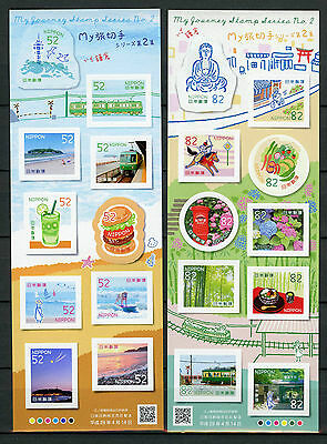 Japan 2017 MNH My Journey Series II 2 x 10v M/S Trains Dogs Tourism Stamps