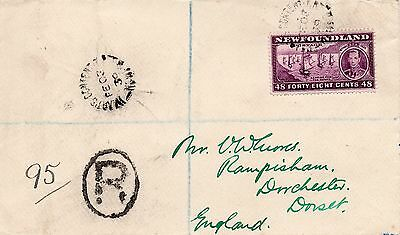 Newfoundland 1939 registered cover to UK