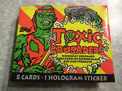 TOXIC CRUSADERS - pack of trading cards + hologram sticker - Topps, Troma, 1991