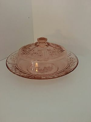 Covered Jam Dish Sharon Depression Glass Cabbage Rose Federal Glass 1935-39 Rare
