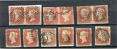 1841 1d SG8 X12  ALPHABET 1 & 2 ALL WITH FAULTS BUT PLATED AND GOOD LOOK AS SCAN